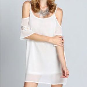 White Off The Shoulder Embroidered Lace up Dress
